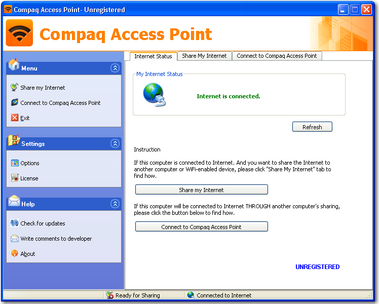 Main window of Compaq Access Point