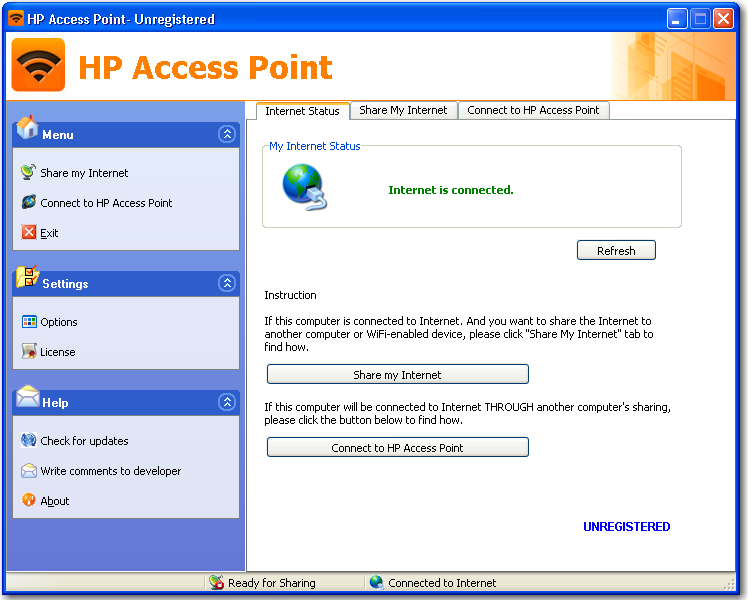 Main window of HP Access Point