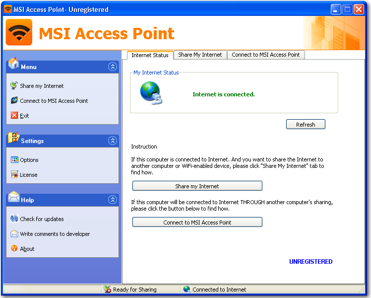 Main window of MSI Access Point