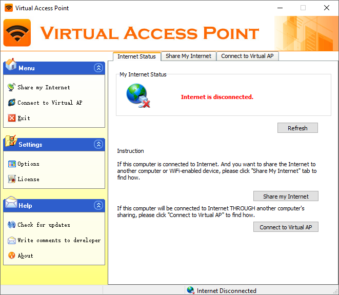 Main window of Virtual Access Point
